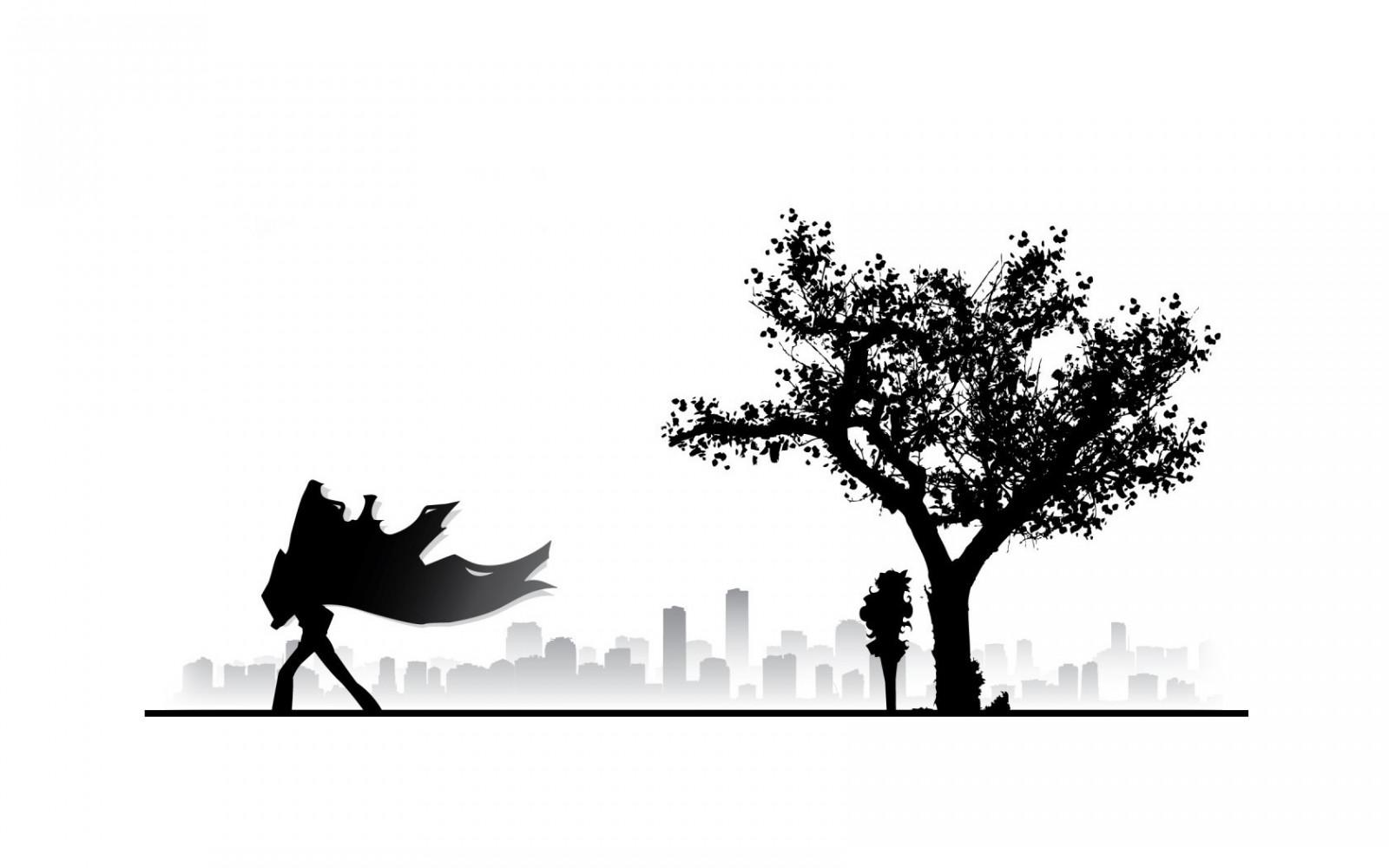 Wallpaper Ilustrasi Bayangan Hitam Logo Cabang Gambar