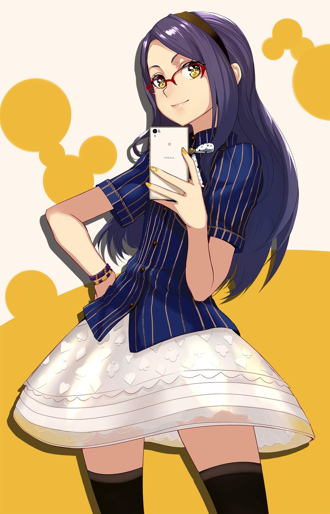 Wallpaper Illustration Anime Girls Glasses Cartoon Black