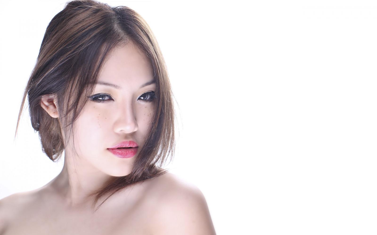 Wallpaper : face, model, long hair, Asian, singer, black ...
