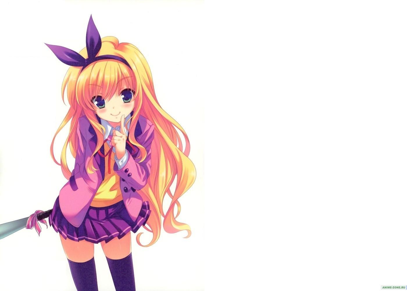 Wallpaper Illustration Blonde Long Hair Anime Girls Green