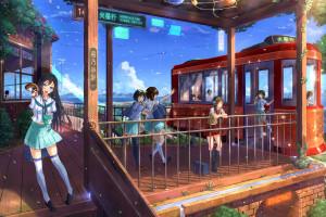 Anime Girls Park School Uniform Original Characters Resort Bar Restaurant Vacation Screenshot Amusement