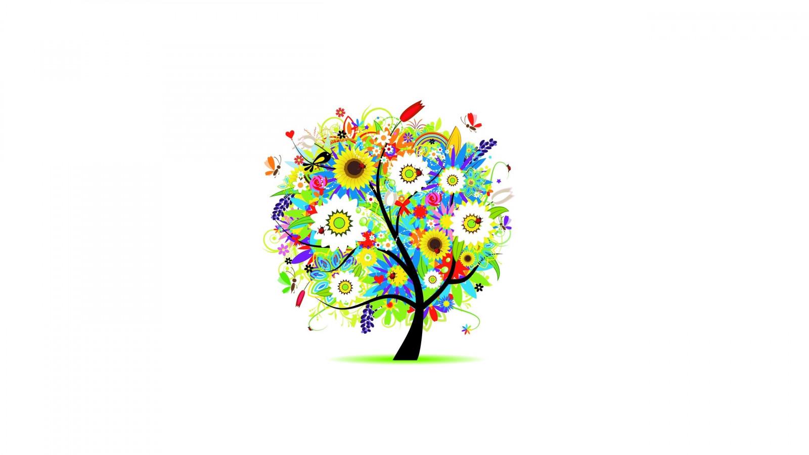 Fond d'écran : des arbres, fleurs, Coloré, dessin 2560x1440 - 4kWallpaper - 648708 - Fond d ...