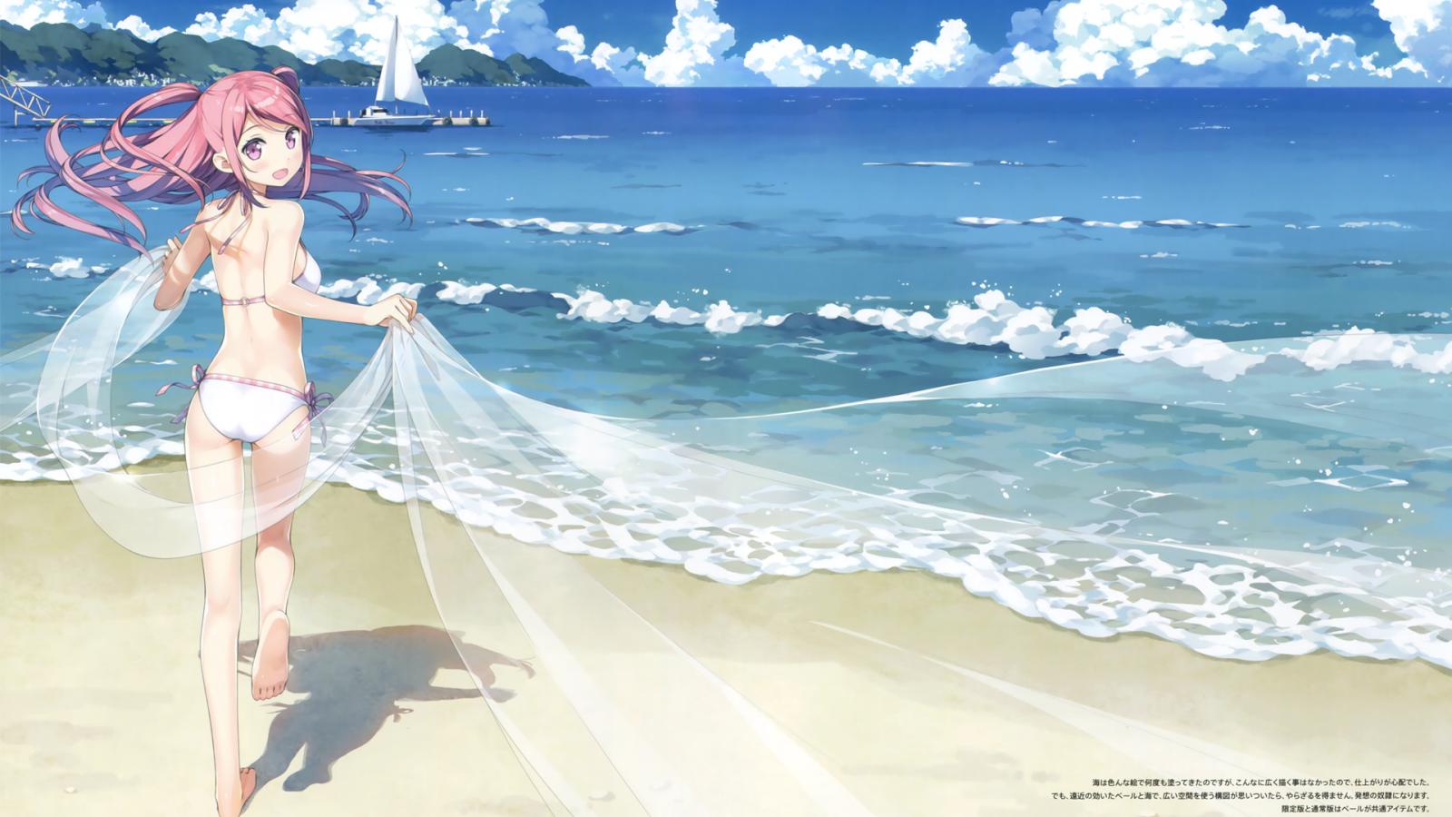 Wallpaper kurumi kantoku anime girls bikini beach - Beach anime girl ...