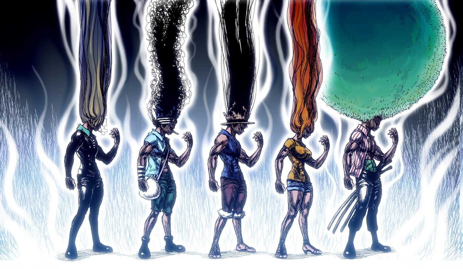 Illustration Anime Crossover Graphic Design Hunter X One Piece Sanji Monkey D Luffy Roronoa Zoro