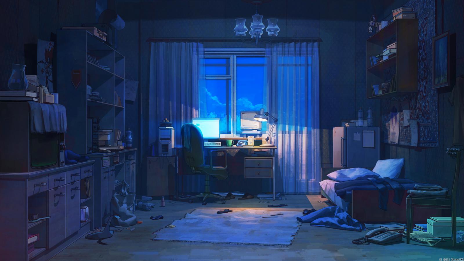 Wallpaper : anime, room, interior, dark 3840x2160 - Jimp ...