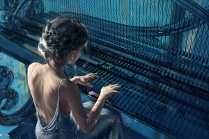 ArtStation,Fantasy art,opera d'arte,strumento musicale,musica,WLOP