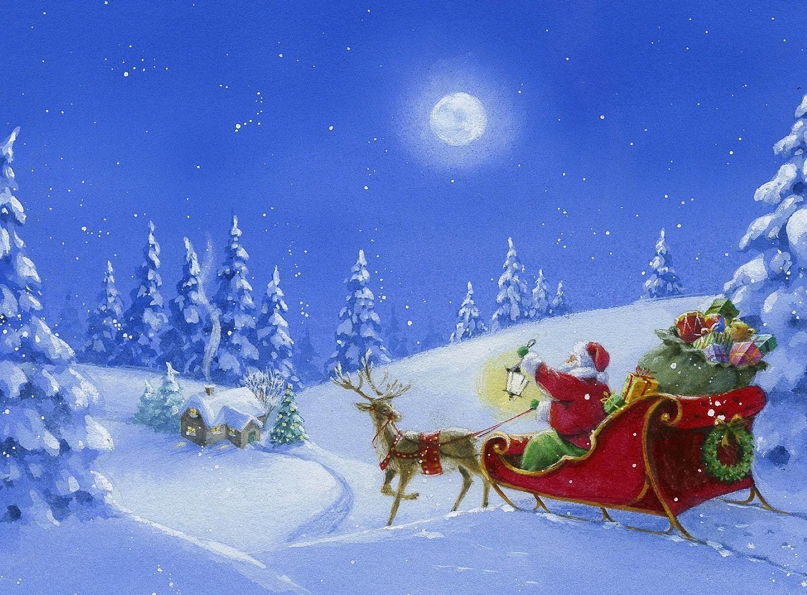 Новогодняя открытка с оленем и дедом морозом, проведу лето