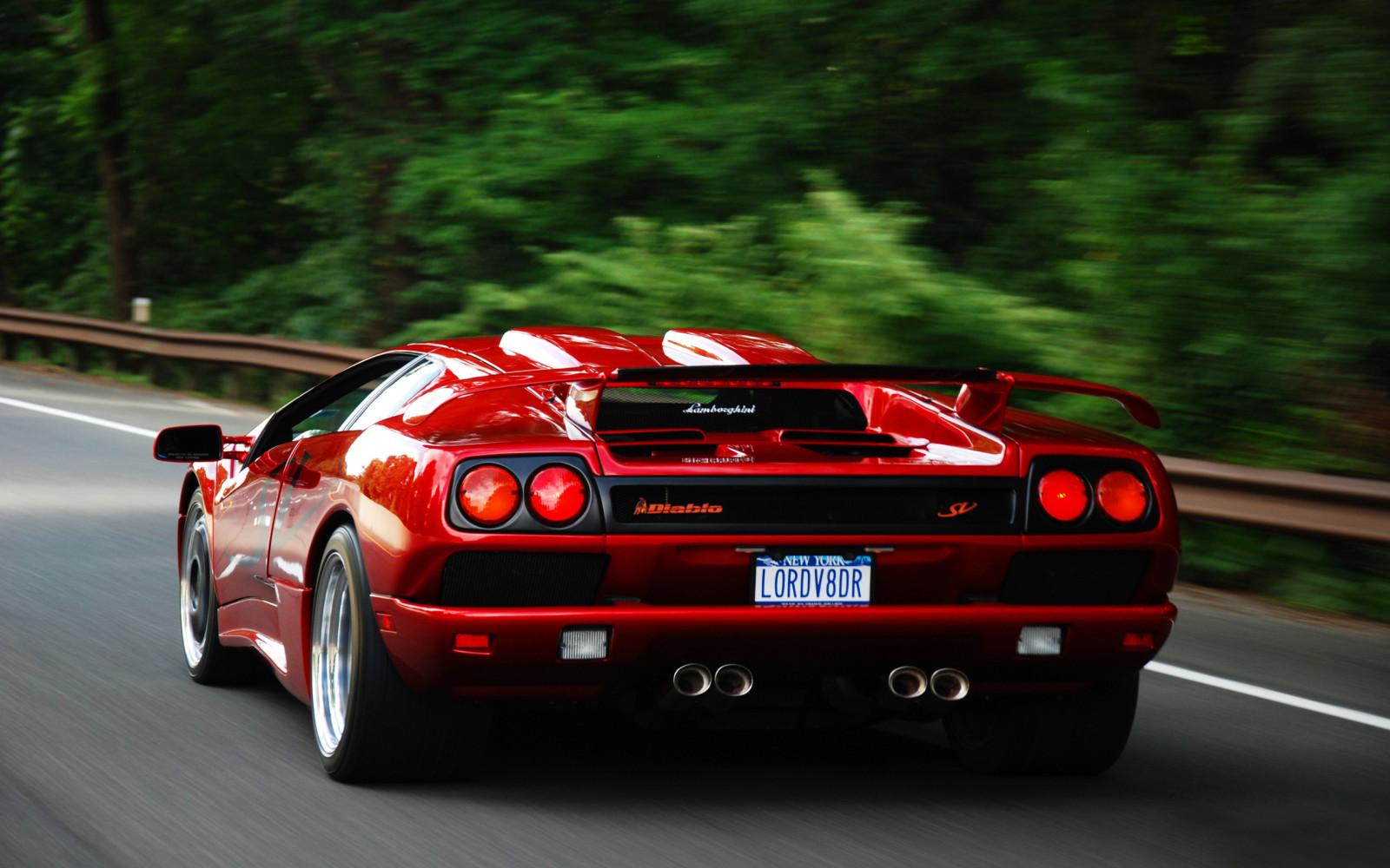 Car Vehicle Lamborghini Red Cars Sports Car Motion Blur Ferrari F40 Lamborghini  Diablo Lamborghini Diablo Sv