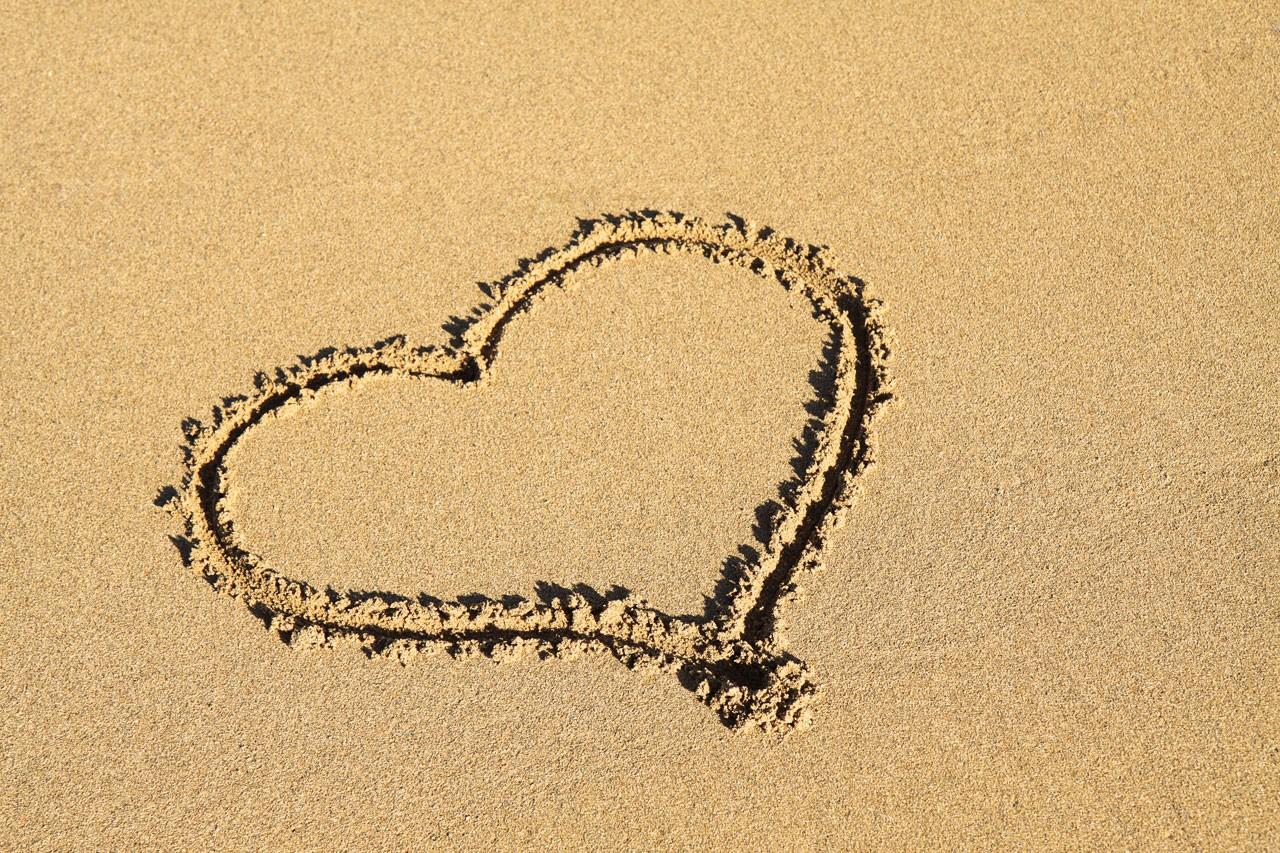 Wallpaper Sea Shore Sand Love Heart Beach Text Necklace