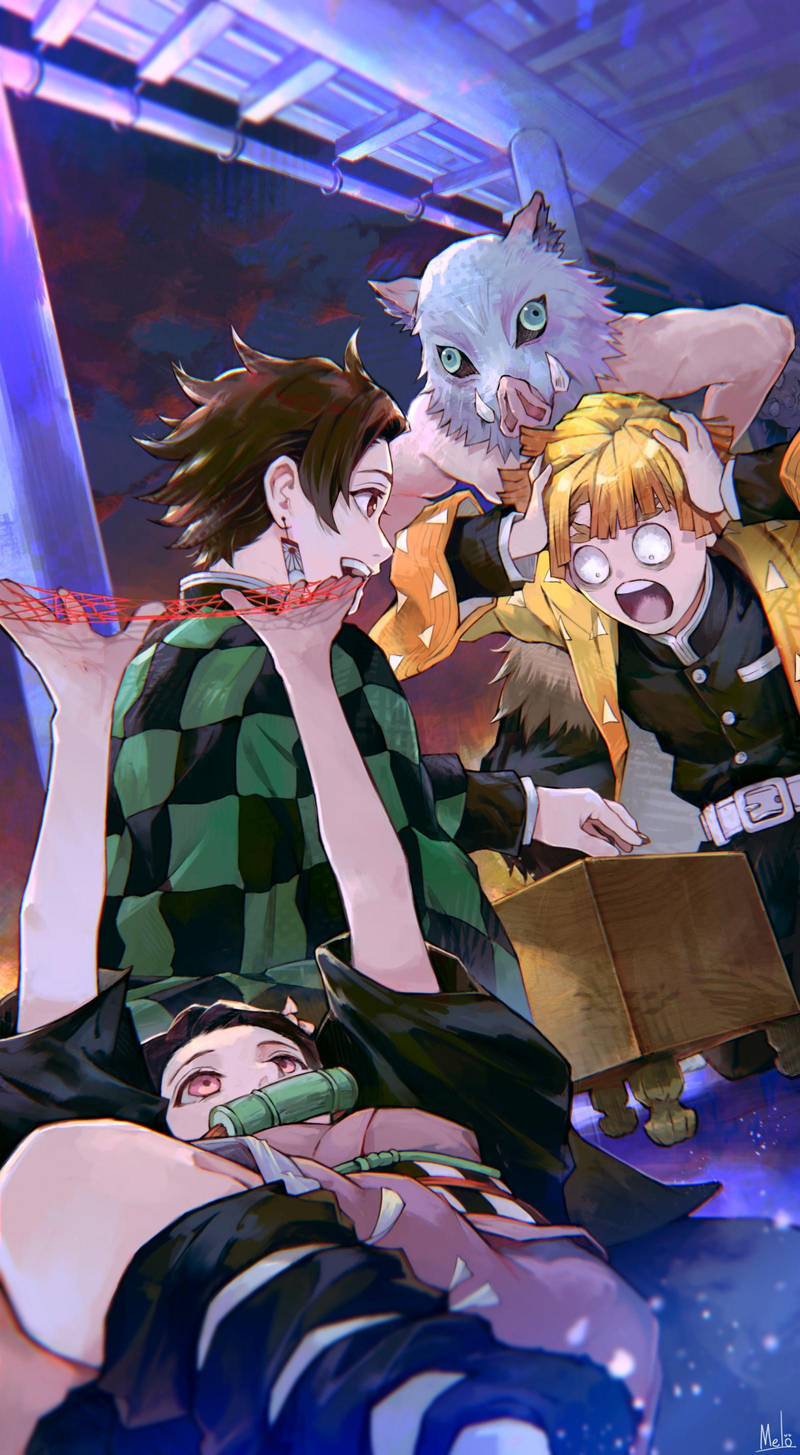 Fond d'écran : Kimetsu no Yaiba, Garçons anime, Filles anime, Kimono japonais, masque, 2D, Fan ...