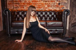 Wallpaper Women Sitting High Heels Black Stockings
