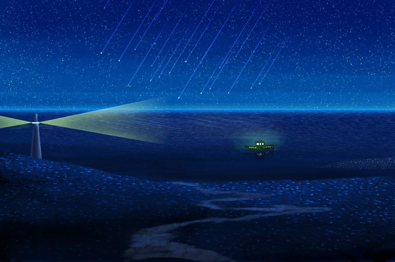 Wallpaper Sunlight Sea Night Anime Sky Artwork Stars Blue Images, Photos, Reviews