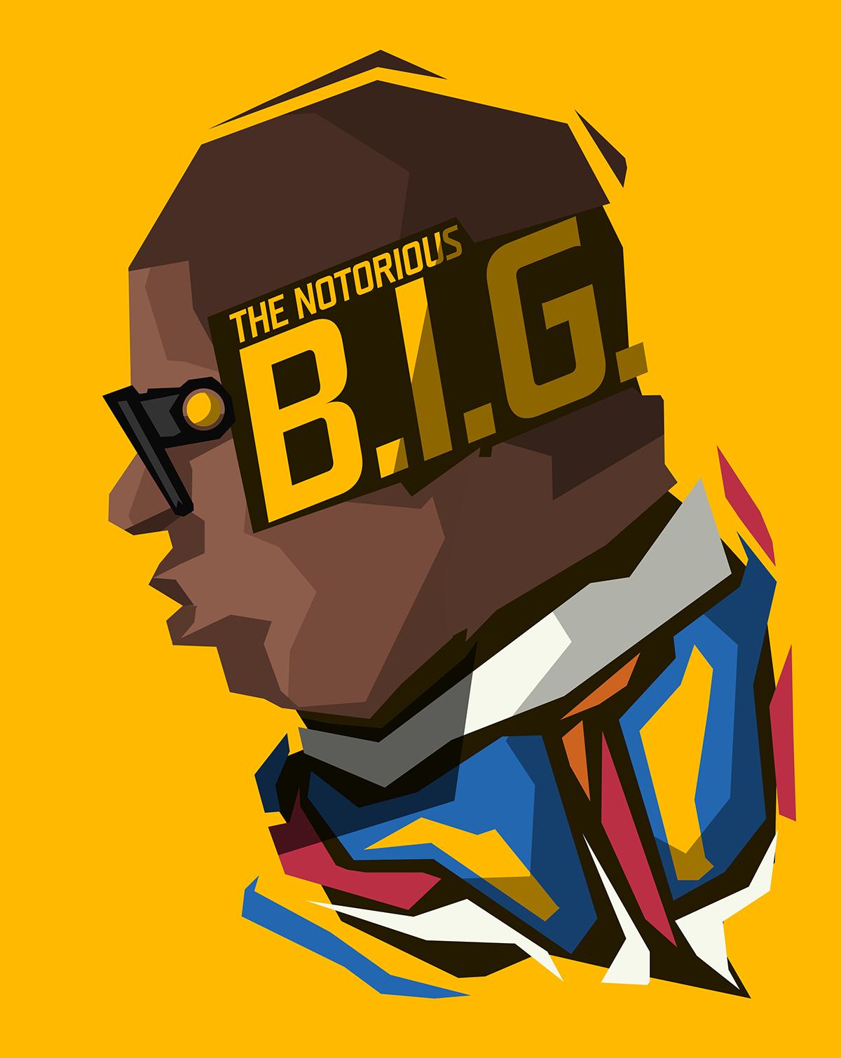 Illustration Logo Rapper Cartoon Yellow Background The Notorious B I G Font