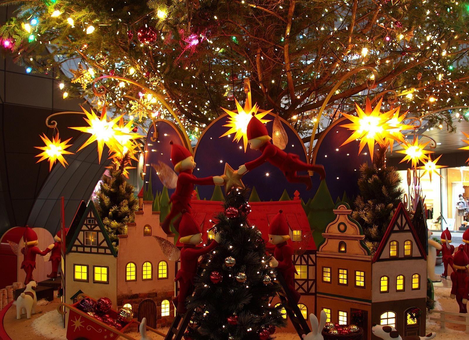 house Christmas Tree Christmas elves holiday christmas lights event tree christmas decoration christmas decorations