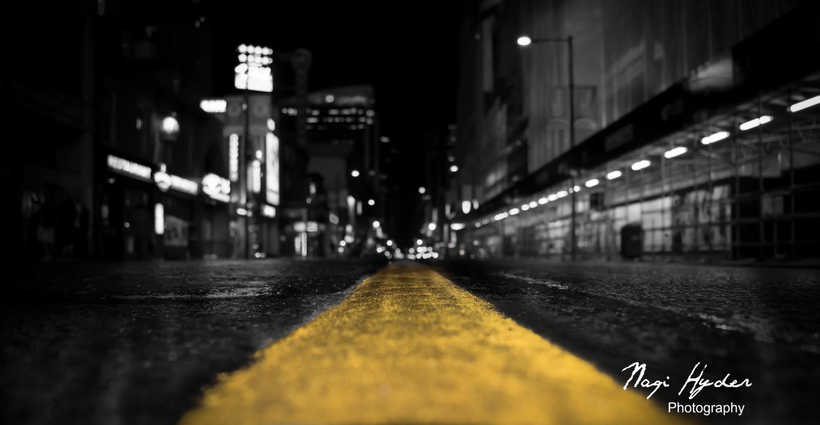 Fond D Ecran Lumieres Monochrome Ville Rue Nuit Route Jaune