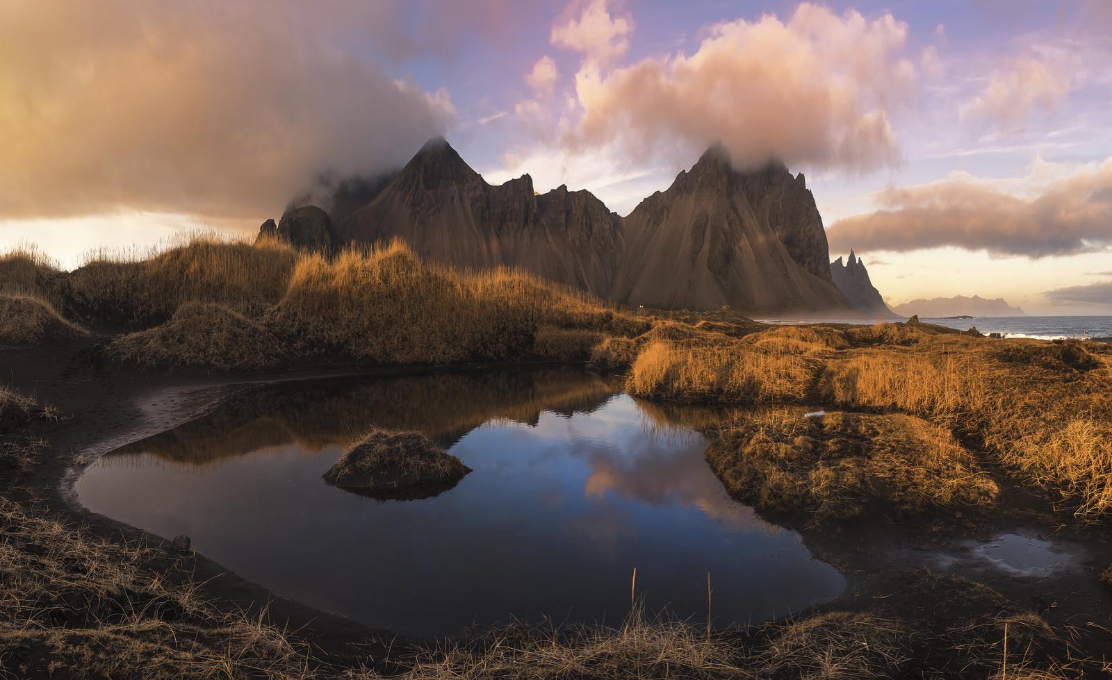 Lake Mountain Reflection Minimalism Wallpapers Hd: Wallpaper : Sunlight, Landscape, Sunset, Sea, Lake, Rock