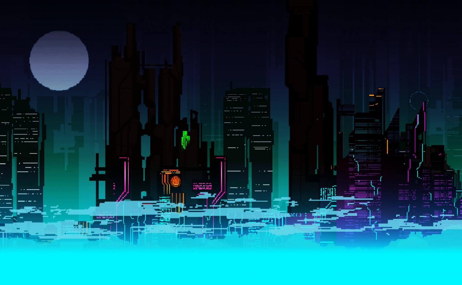 Wallpaper : colorful, digital art, city, cityscape, night ...