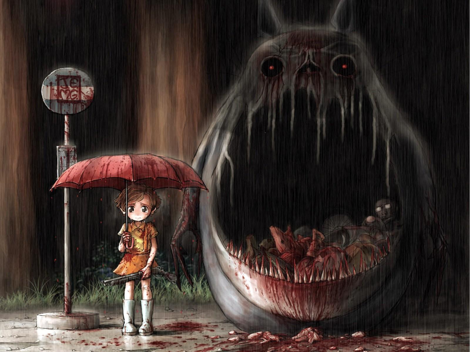 Wallpaper Horror Rain Blood Fan Art My Neighbor Totoro