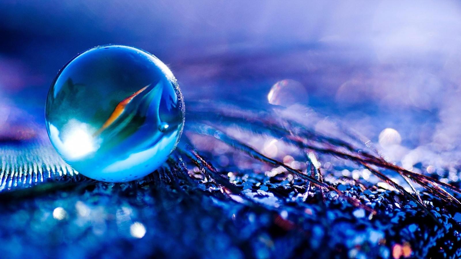 Wallpaper Sunlight Water Reflection Sphere Blue Glass