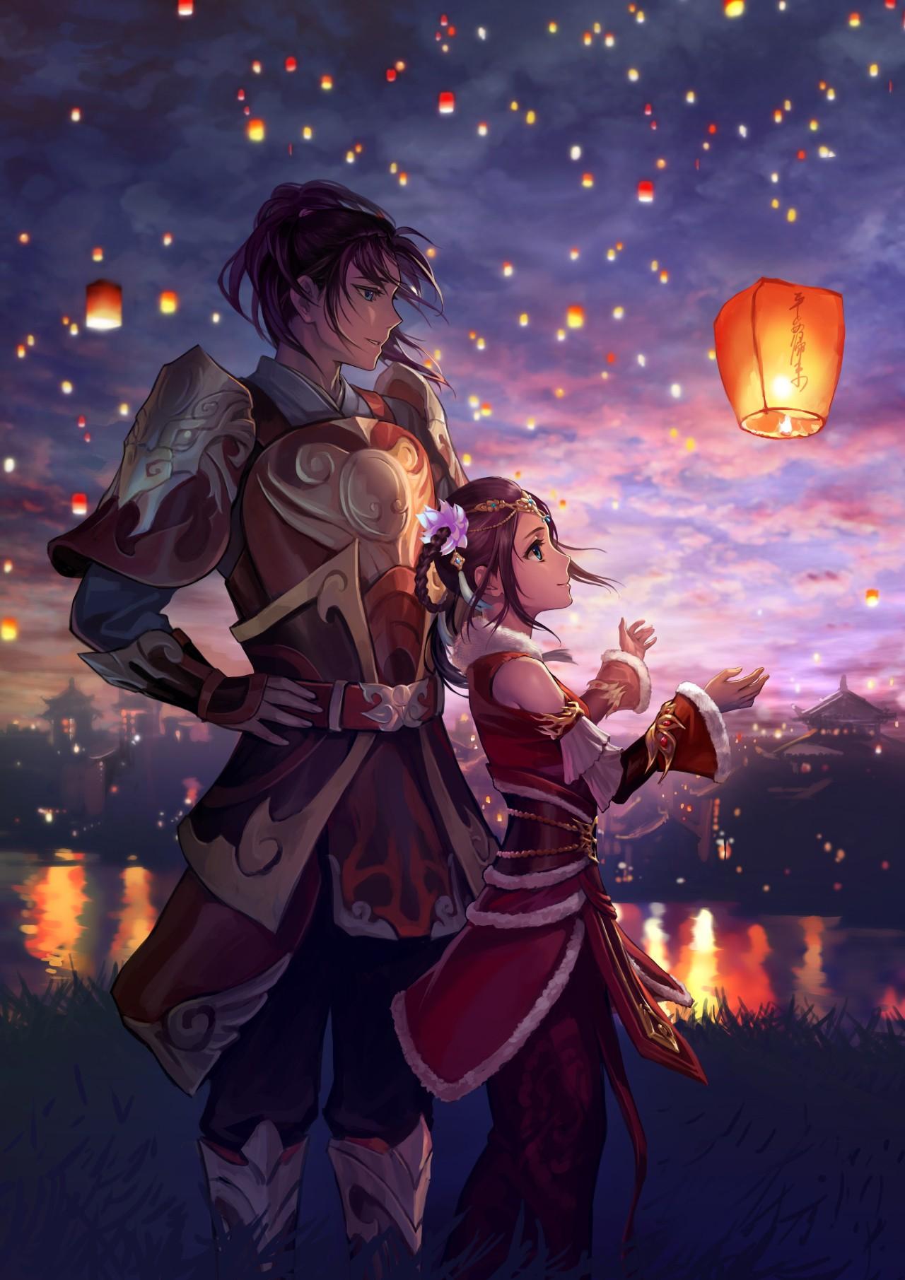 Đèn Hình Minh Họa Anime Đèn Lồng Ký Tự Gốc Bầu Trời Lồng Đèn Nữa Đêm