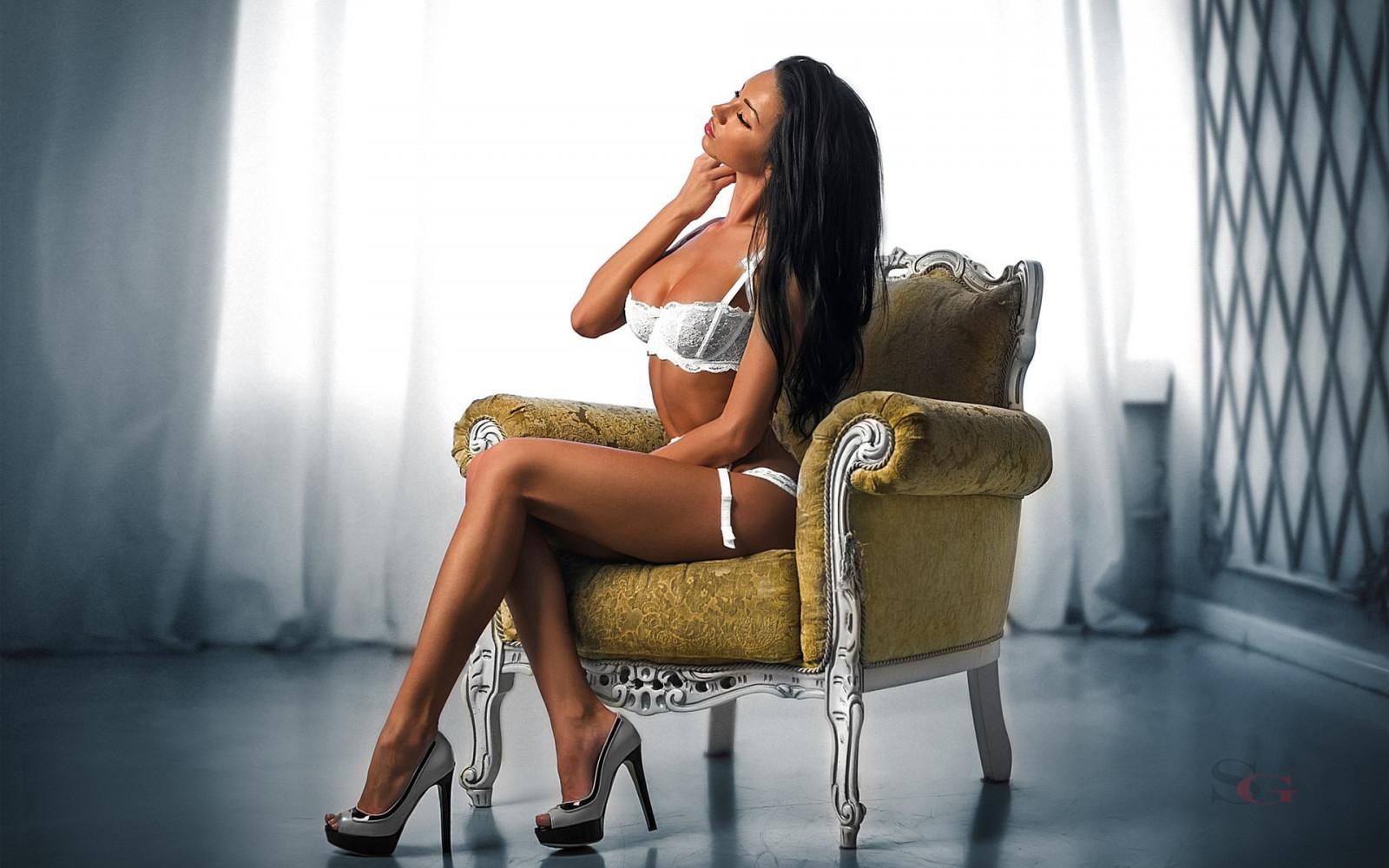 Wallpaper  Women, Long Hair, Closed Eyes, Brunette, Legs, Sitting, High Heels -8402