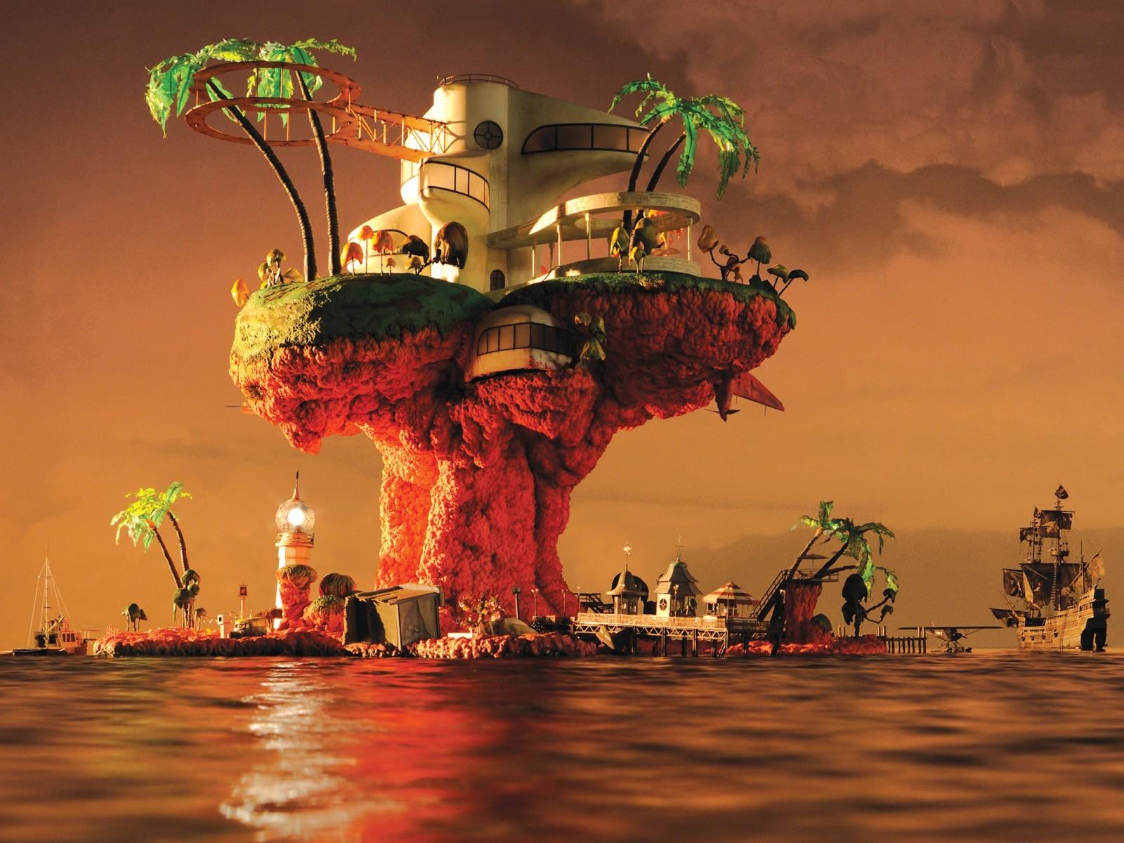 tối Jamie Hewlett Gorillaz Bìa album Bãi biển Nhựa hoa Ảnh chụp màn hình  1600x1200 px