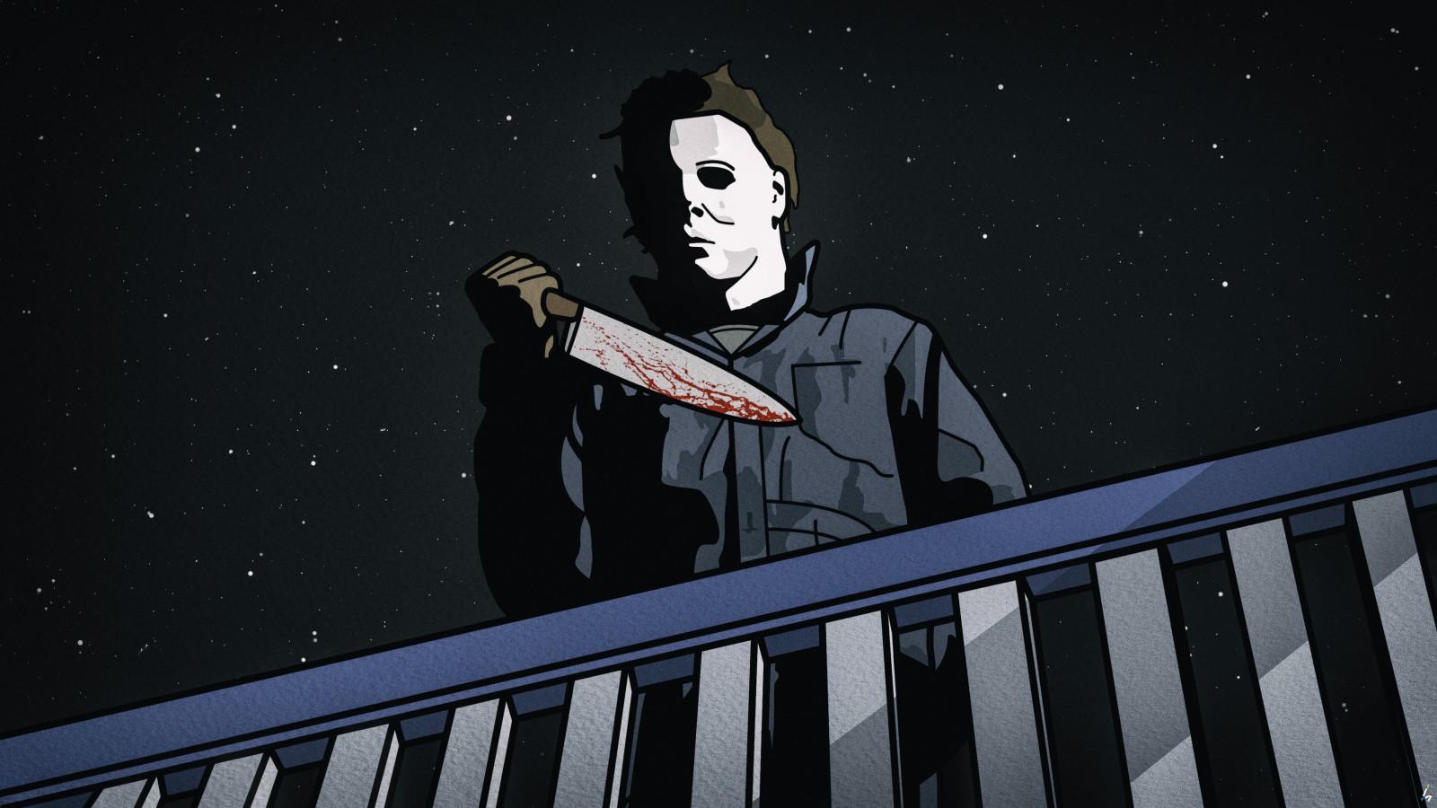 Wallpaper : michael myers, Halloween, horror, fan art ...