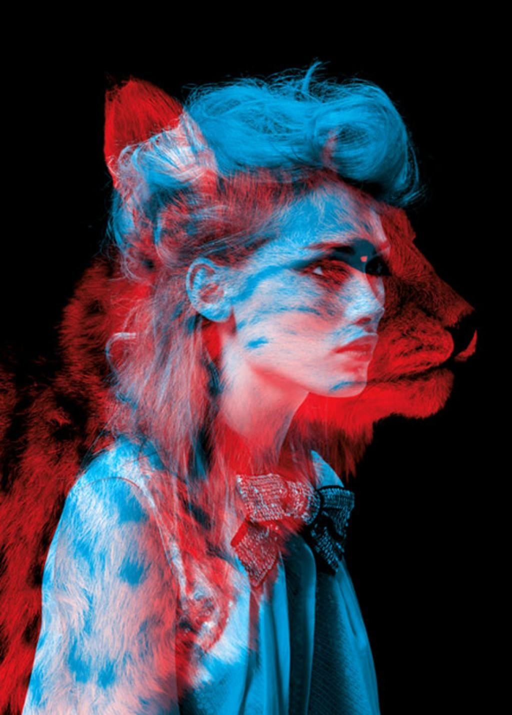 Wallpaper Illustration Animals Women Red Blue