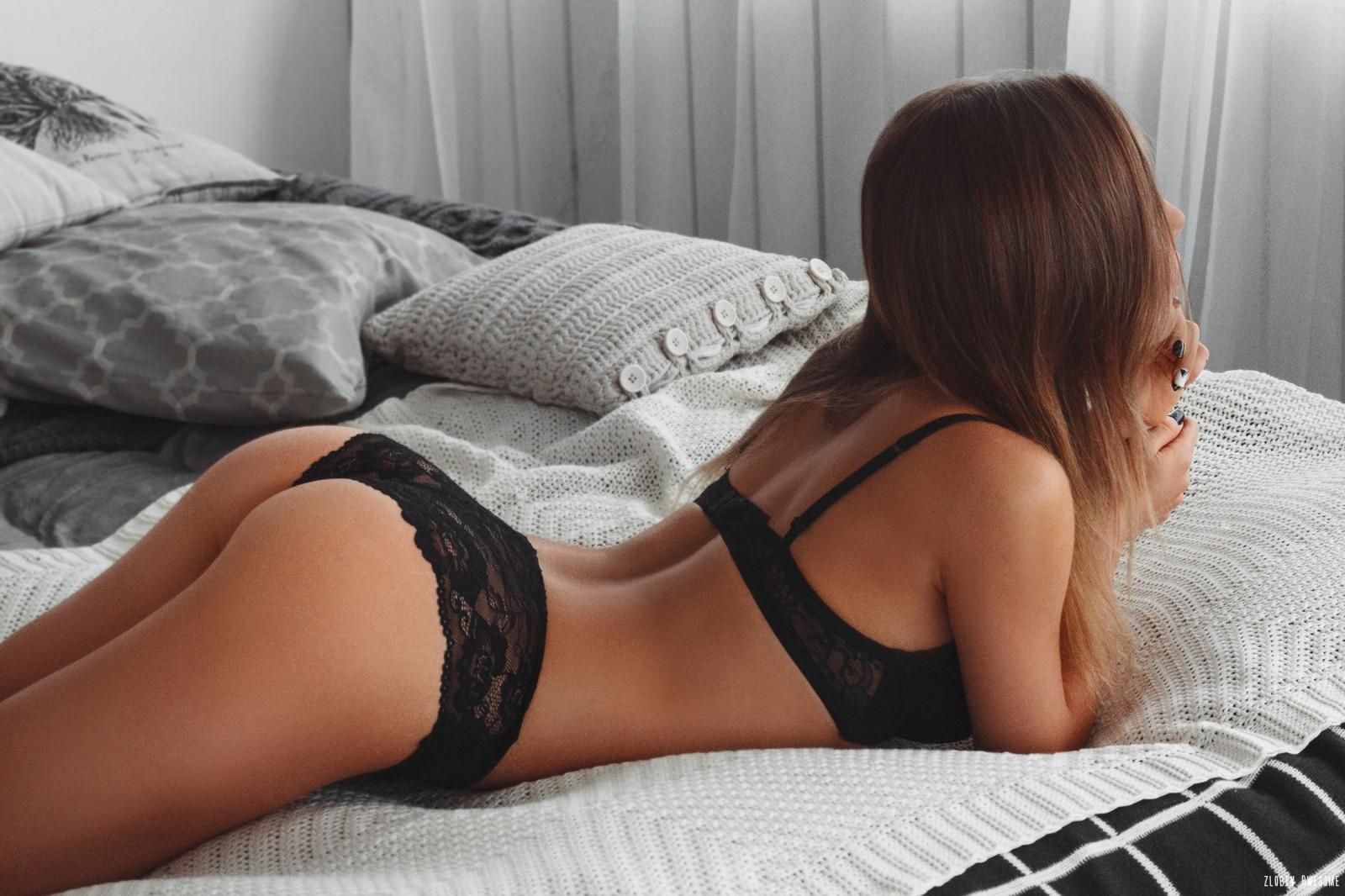 Wallpaper : black lingerie, ass, women, lying on front, in ...