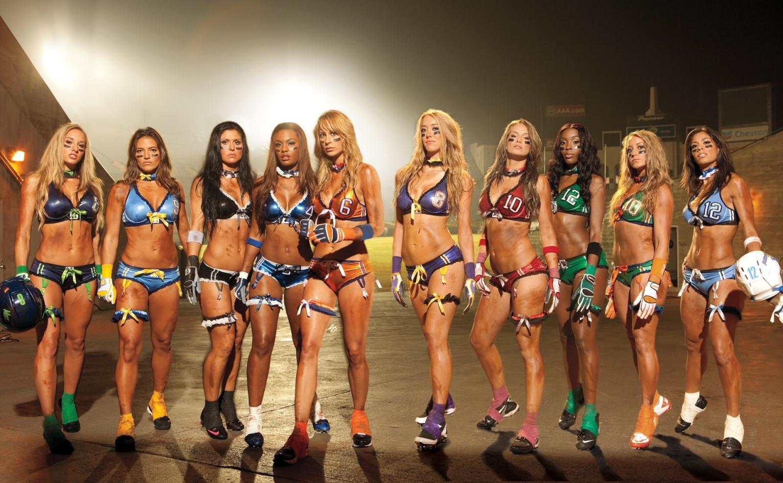 Girls lingerie football nude bikini foil gold