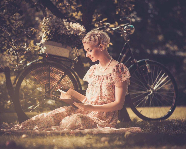 Wallpaper Women Outdoors Blonde Bicycle Vehicle Dress