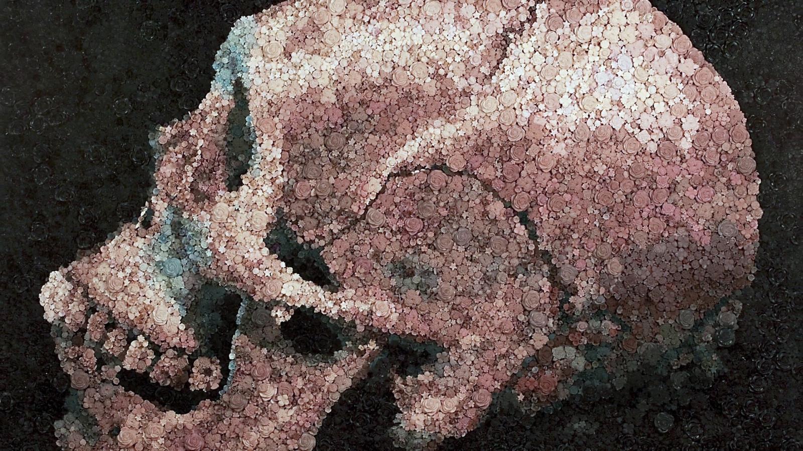 Hintergrundbilder : Malerei, Blumen, Rock, Rose, Schädel und Knochen ...