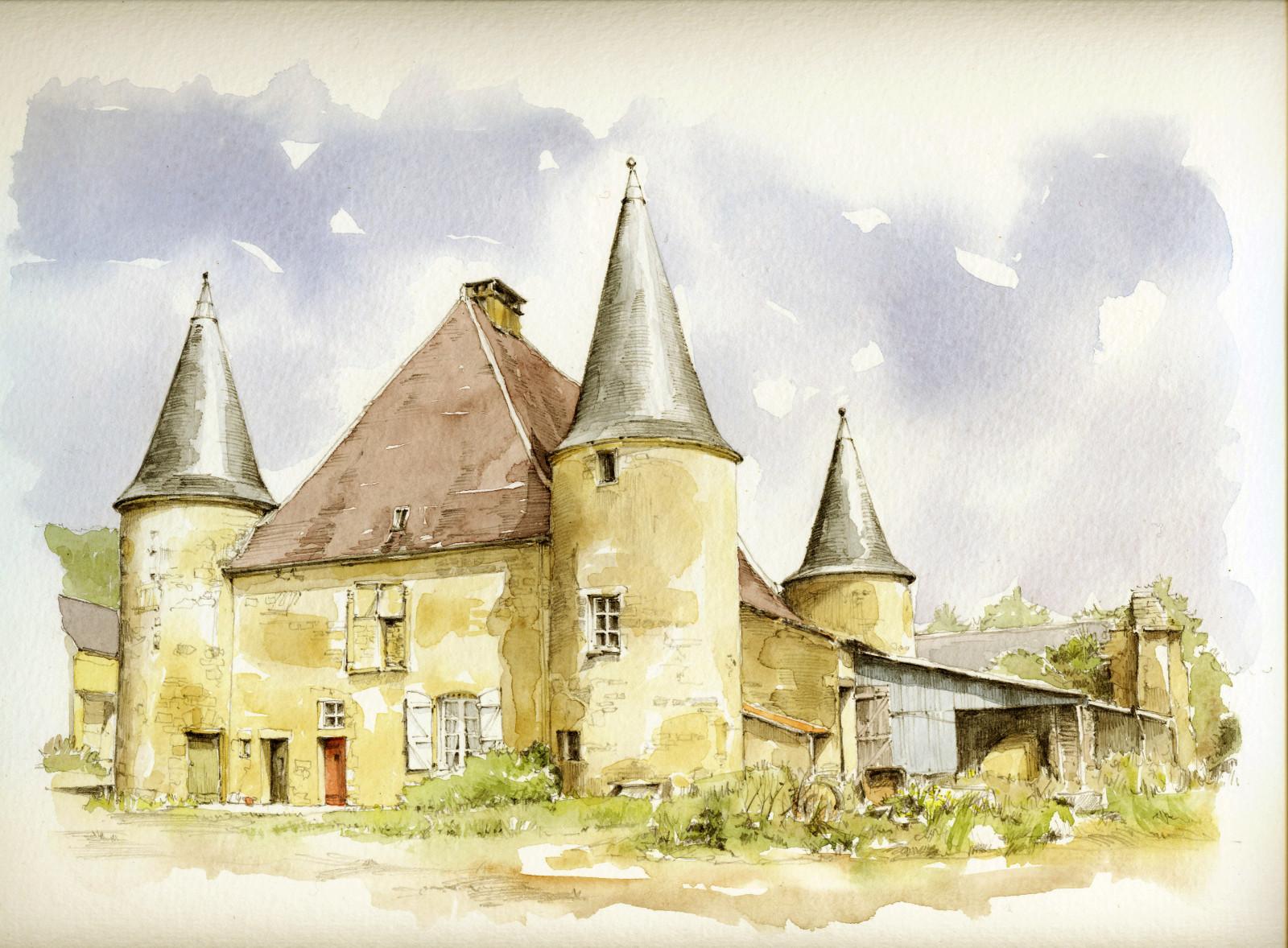 Wallpaper Gambar Lukisan Ilustrasi Kastil Perancis