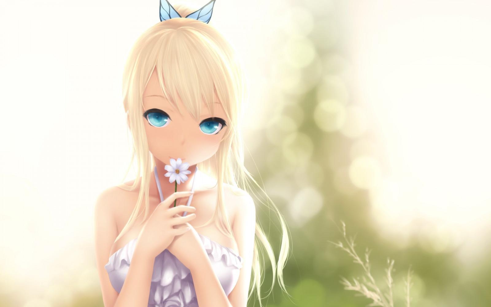 Fond Décran Blond Fleurs Cheveux Longs Filles Anime Yeux