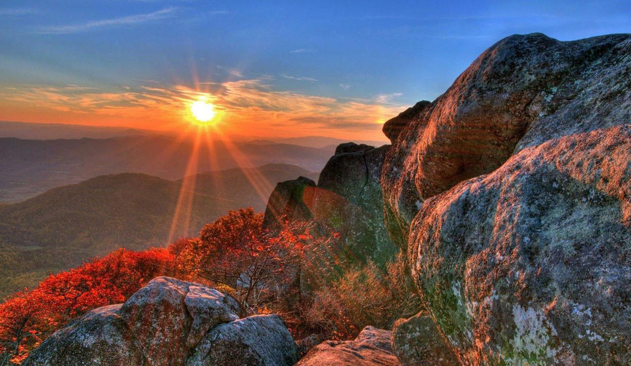 Sfondi luce del sole collina roccia cielo alba for Sfondi hd natura
