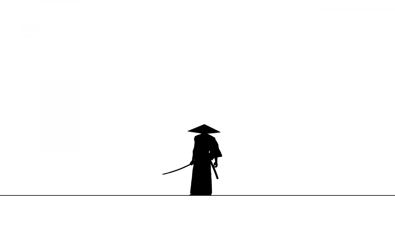 Wallpaper : samurai, minimalism, silhouette, simple ...
