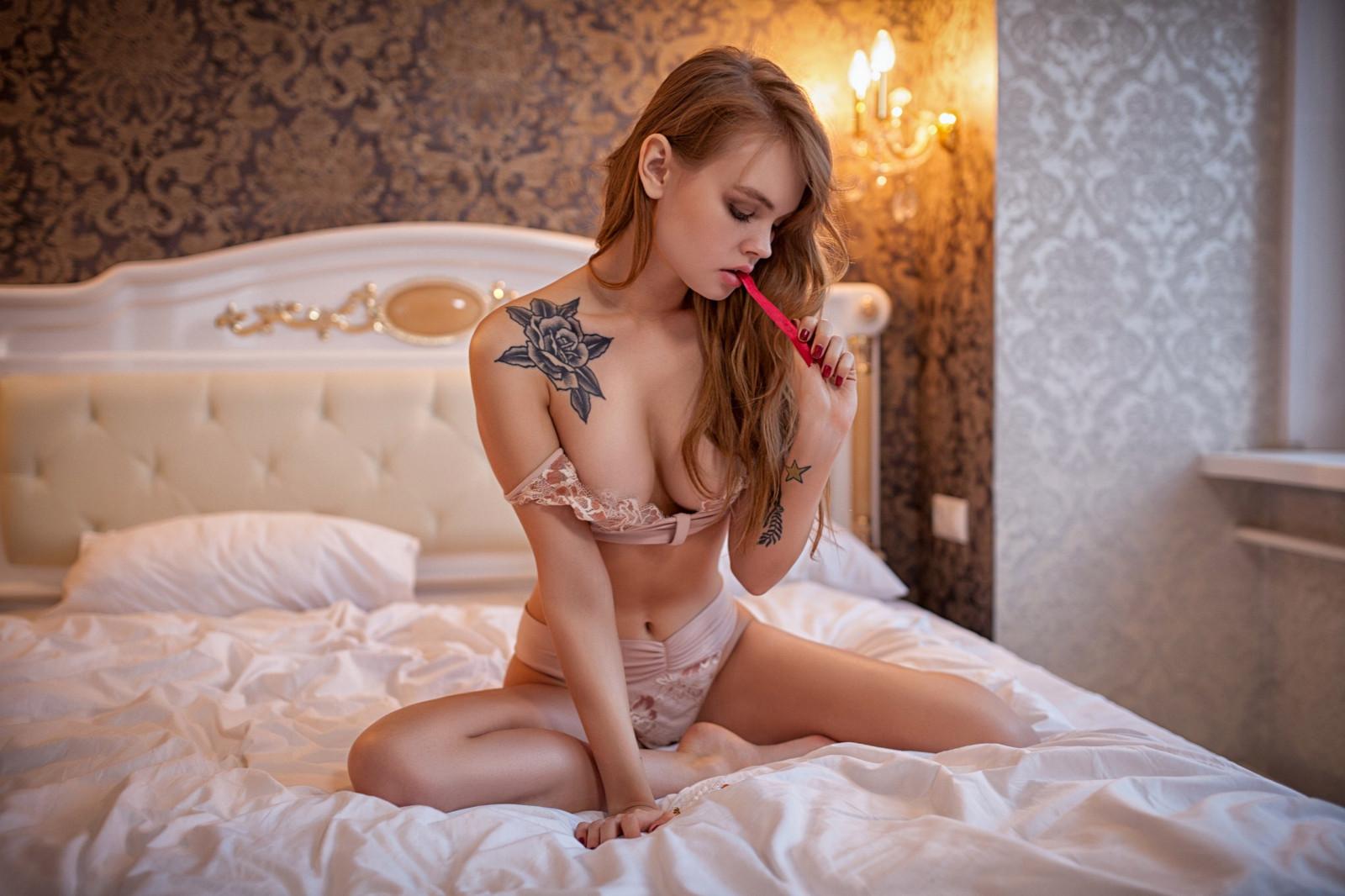 Anastasia Scheglova, women, model, brunette, in bed, lingerie, blonde, tattoo, sitting, portrait, belly, red nails, boobs