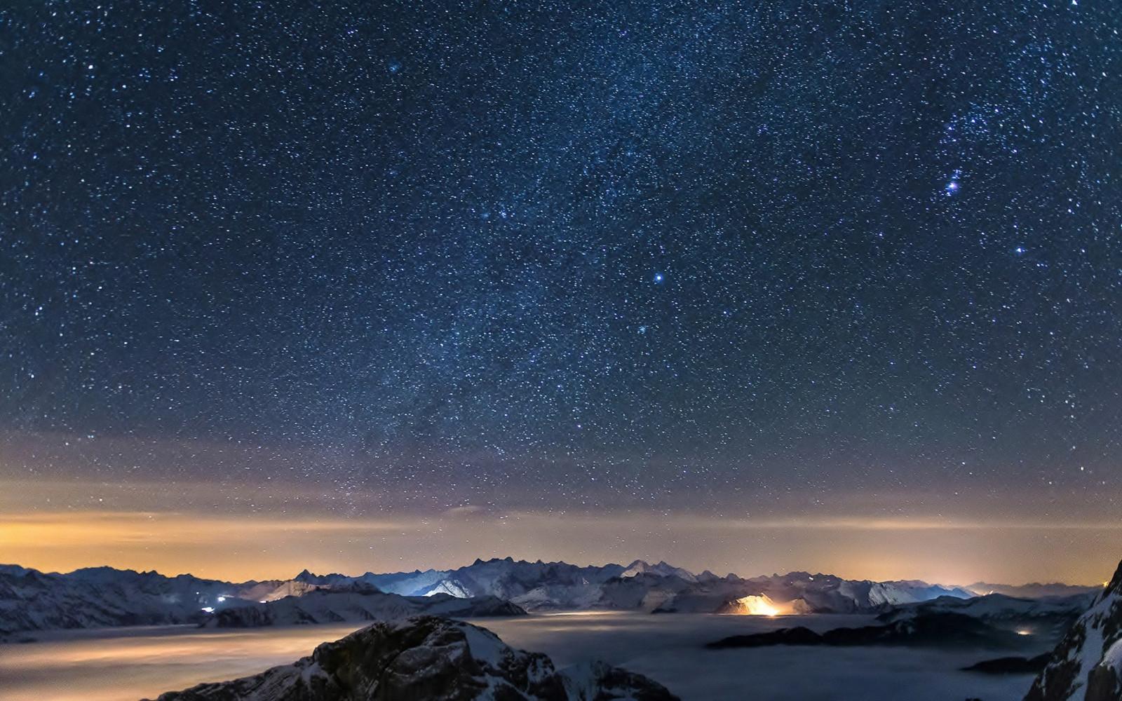 Fondo Escritorio Picos Montañas Nevadas: Fondos De Pantalla : Montañas, Noche, Galaxia, Cielo