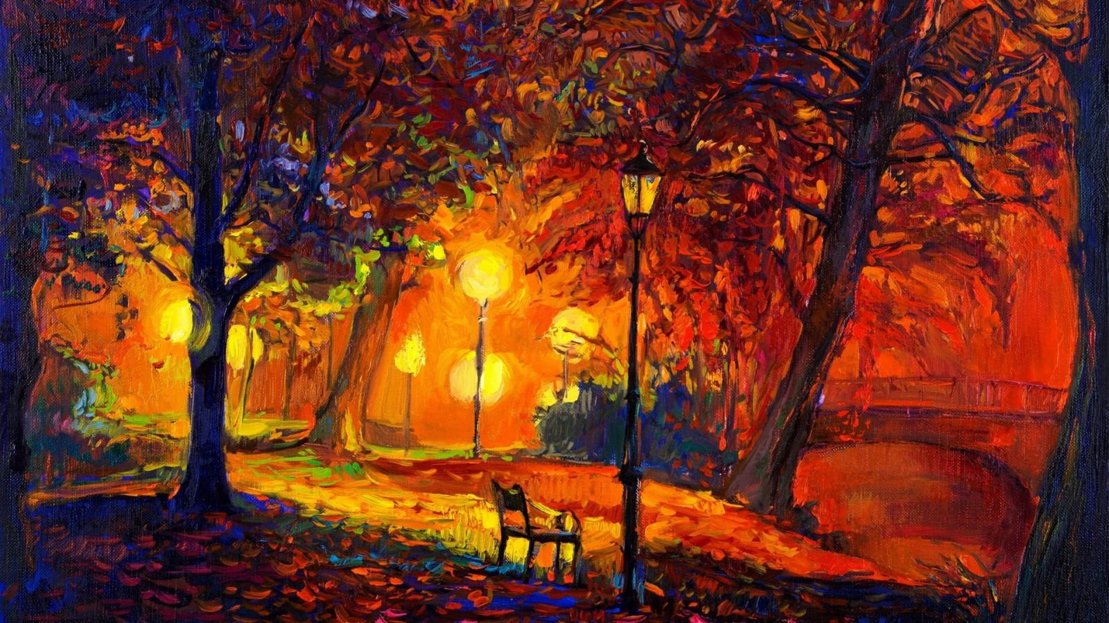 Wallpaper : 1920x1080 px, artwork, bench, digital art, fall