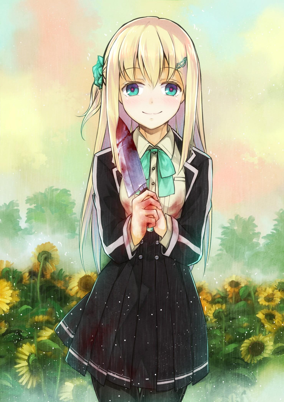 Drawing illustration blonde long hair anime anime girls blue eyes rain blood knife uniform sketch mangaka
