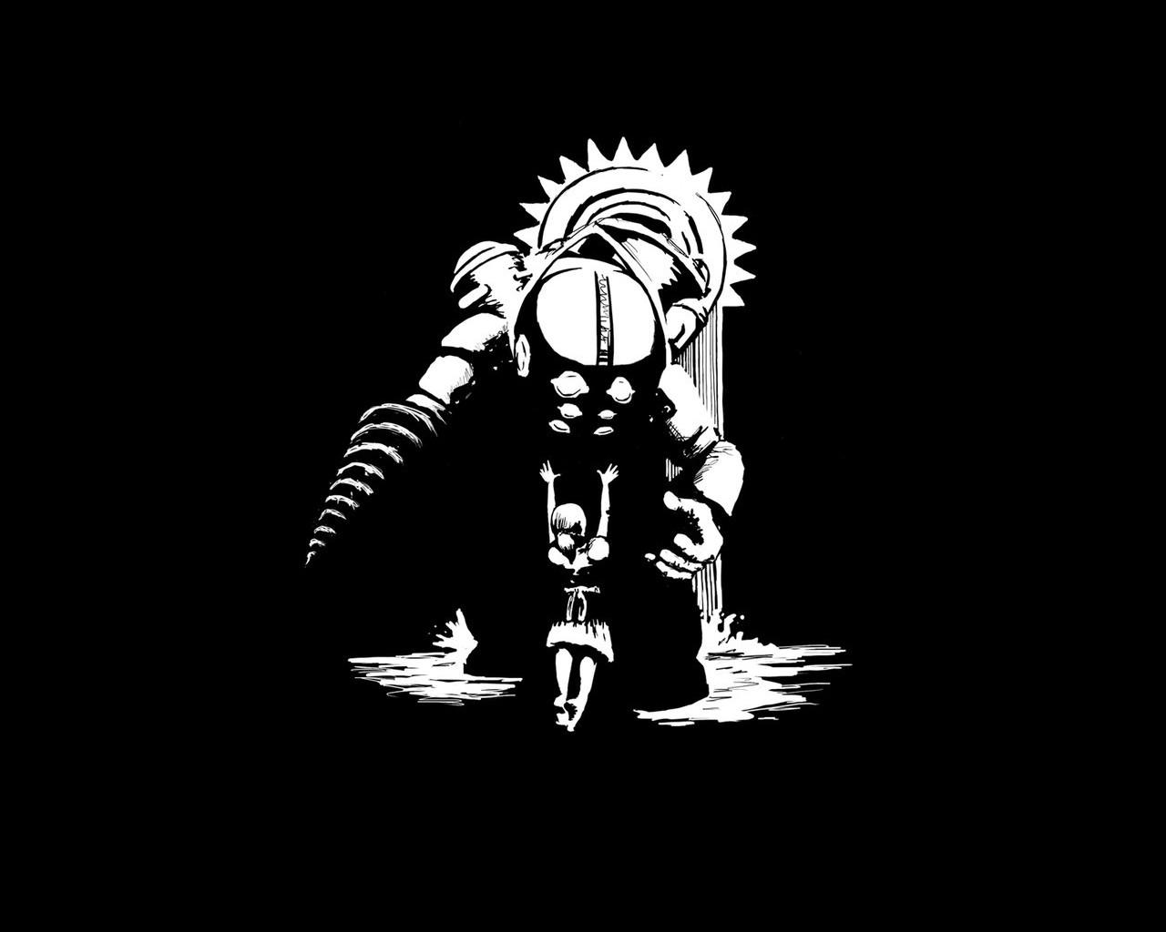 BioShock artwork monochrome video games minimalism 72679