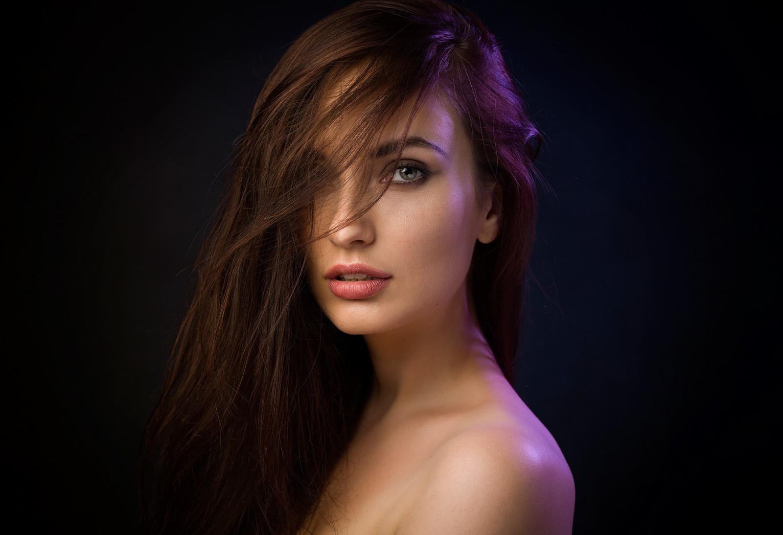 Wallpaper : face, women, simple background, long hair