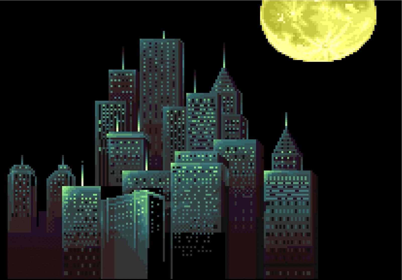 fond d 39 cran illustration fond noir ville paysage urbain nuit pixel art b timent texte. Black Bedroom Furniture Sets. Home Design Ideas