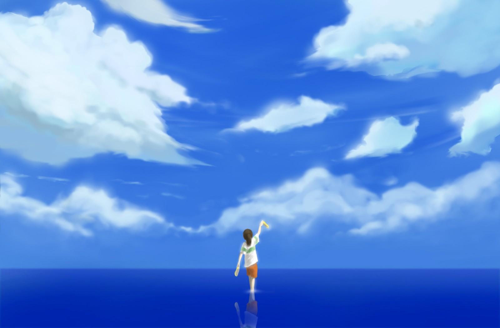 デスクトップ壁紙 日光 アニメ 空 神隠し 地平線 スタジオ