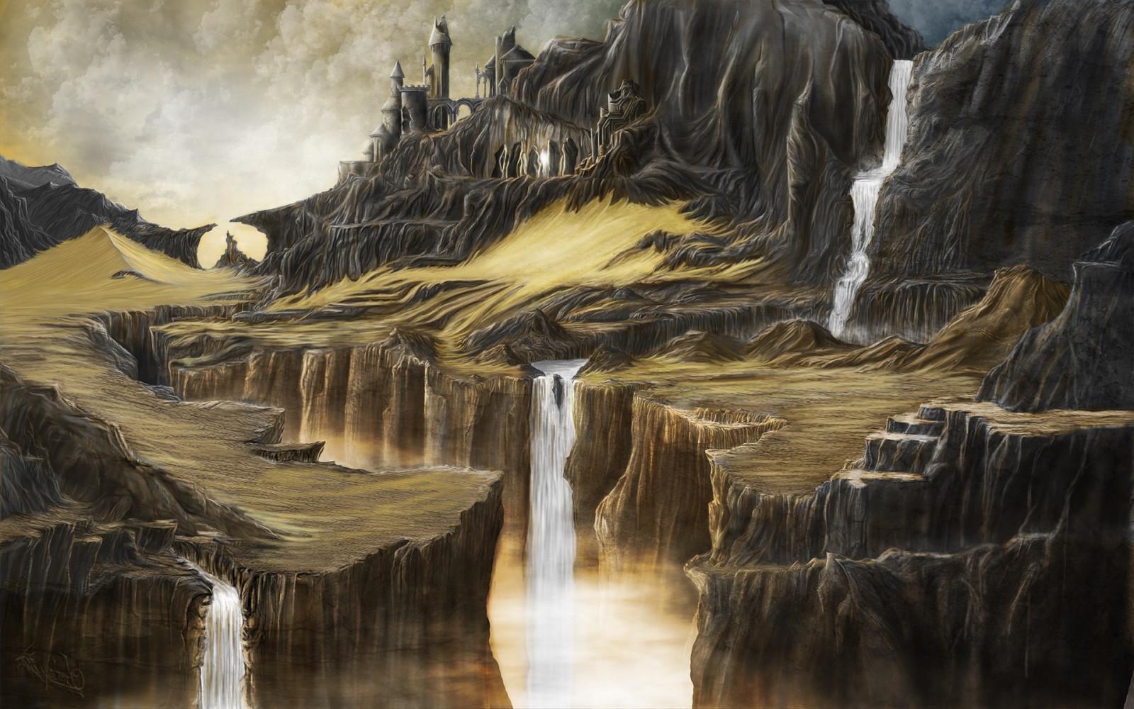 560+ Seni Lukisan Pemandangan Air Terjun HD Terbaru