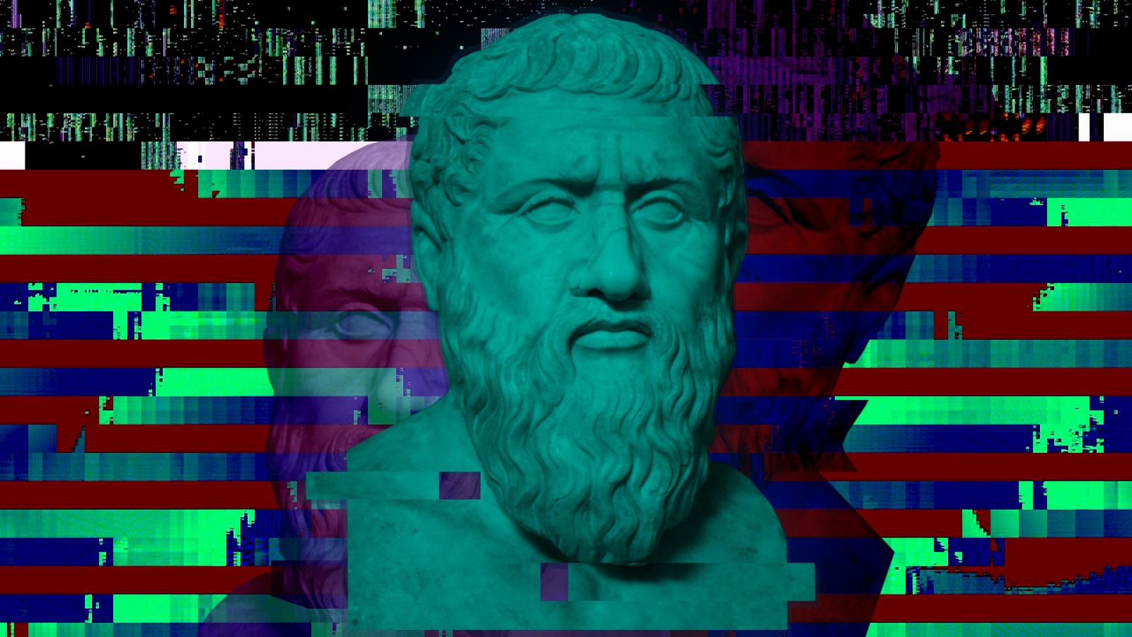 Wallpaper Greek Philosophers Plato Minimalism Glitch