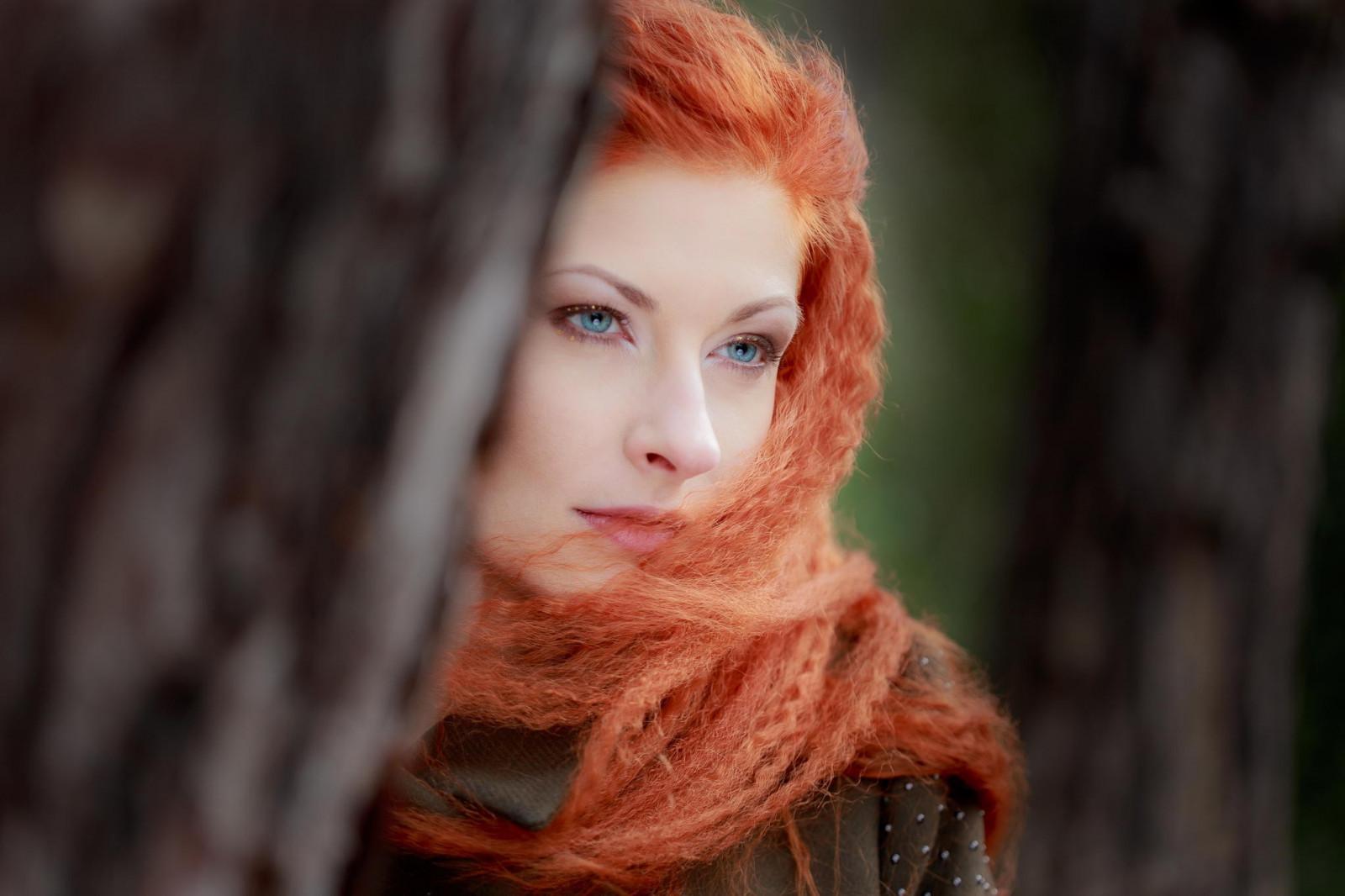 Women Blonde Blue Eyes Long Hair Wavy Hair Portrait: Wallpaper : Face, Women Outdoors, Redhead, Model, Depth Of