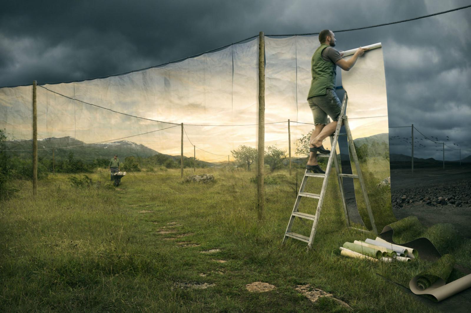 Fondos de pantalla : naturaleza, paisaje, Photoshop, arte digital,  surrealista, Erik Johansson, hombres, escalera, póster, poste de  electricidad, césped, Nubes, tormenta, luz de sol, montañas, manipulación  de foto, ilusión óptica 1920x1280 -