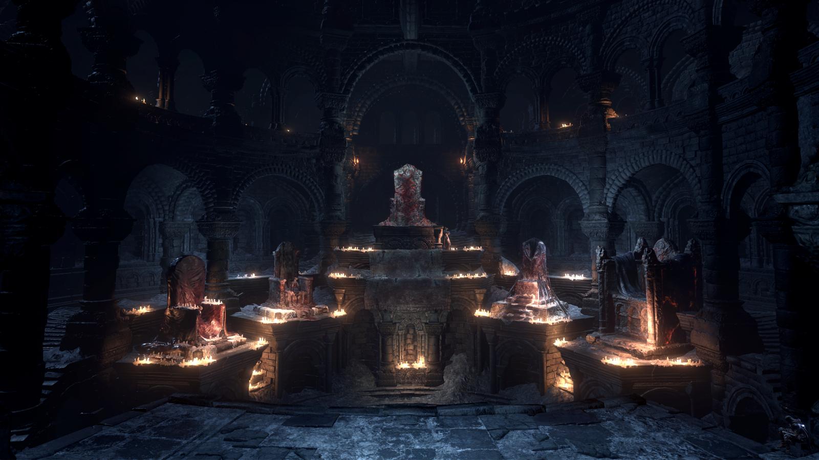 jeux vidéo nuit soir Dark Souls III cathédrale Sanctuaire Firelink lumière éclairage obscurité capture d'écran lieu de culte