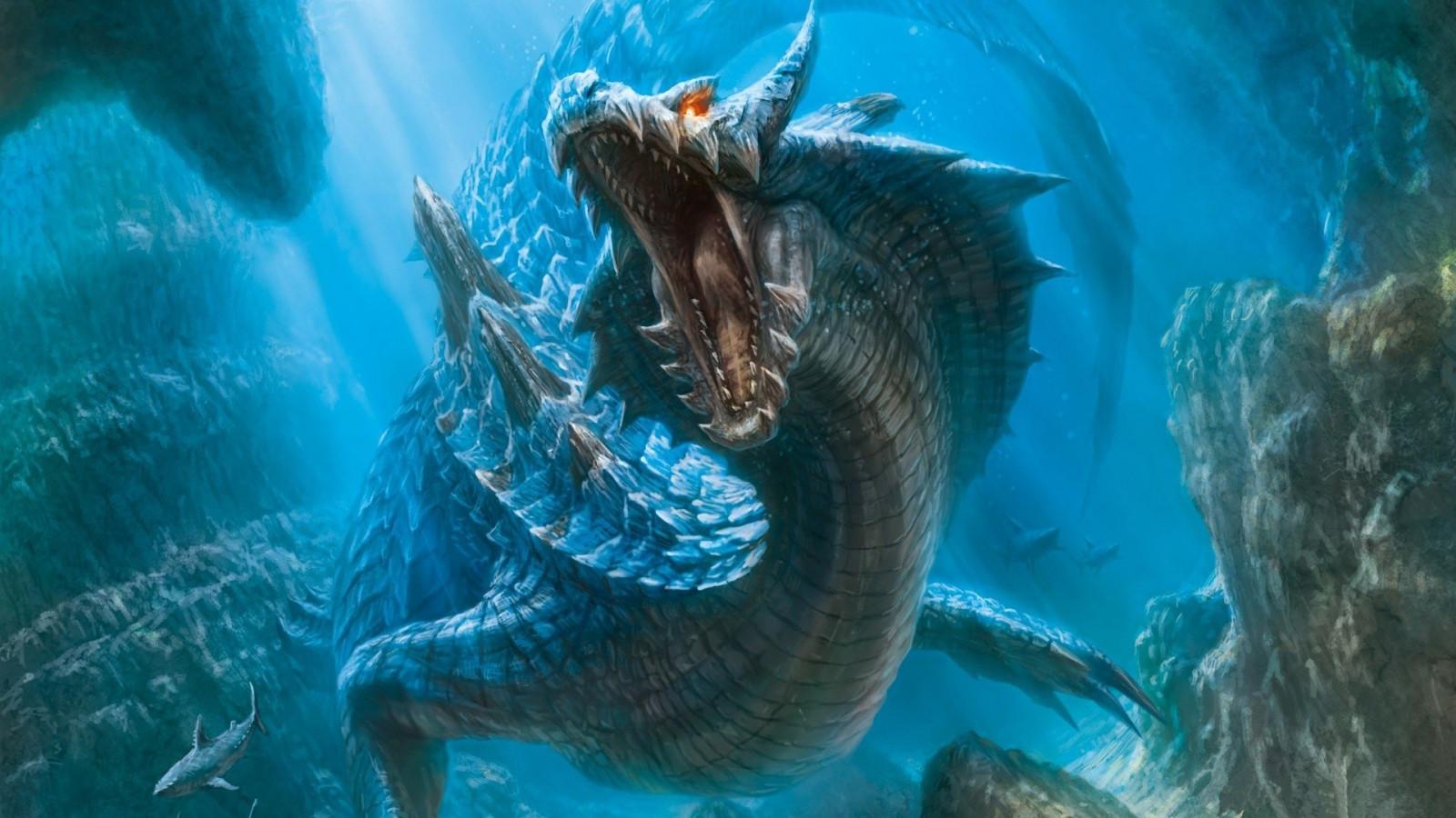 Wallpaper Bawah Air Naga Batu Karang Pemburu Monster